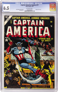 Captain America Comics #77 (Timely, 1954) CGC FN+ 6.5 Off-white pages