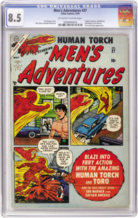 Men's Adventures #27 (Atlas, 1954) CGC VF+ 8.5 Off-white to white pages