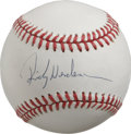 Autographs:Baseballs, Rickey Henderson Single Signed Baseball. The soon-to-be Hall ofFamer Rickey Henderson simply crushed his closest competiti...