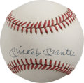 Autographs:Baseballs, Mickey Mantle Single Signed Baseball. While the OAL (Brown)baseball that we see here has begun to exhibit a light, yet eve...