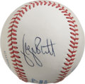 Autographs:Baseballs, George Brett Single Signed Baseball. The Royals franchise manGeorge Brett provides his excellent signature to a side panel...