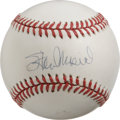 Autographs:Baseballs, Stan Musial Single Signed Baseball. Stan the Man's popularsignature appears across the sweet spot of the ONL (White) baseb...