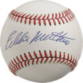 Autographs:Baseballs, Eddie Mathews Single Signed Baseball. The only man who played withthe Braves organization through their stops in Boston, M...