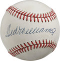 Autographs:Baseballs, Ted Williams Single Signed Baseball. Splendid 9/10 signature spansthe sweet spot of the OAL (Brown) orb courtesy of Red So...