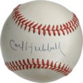 "Autographs:Baseballs, Carl Hubbell Single Signed Baseball. Superb cream-toned singleprovides an excellent canvas for courtesy of ""King Carl"" Hub..."