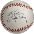 "Autographs:Baseballs, Harry Caray ""Holy Cow!"" Single Signed Baseball. Long-time Cubsannouncer appears here by way of the side panel signature he..."