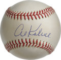 Autographs:Baseballs, Al Kaline Single Signed Baseball. Beautifully cream-toned OAL(Brown) baseball has the honor of wearing a perfect 10 of a s...
