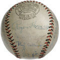 Autographs:Baseballs, 1933 St. Louis Cardinals Team Signed Baseball. Great scarce teamsigned ONL (Heydler) orb with black and red stitching bea...