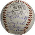 Autographs:Baseballs, 1967 Cincinnati Reds Team Signed Baseball. Remarkable collection ofsignatures appear on the surface of the ONL (Giles) bas...