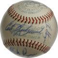 Autographs:Baseballs, 1967 Boston Red Sox Team Signed Baseball. The 1967 AL champs arerepresented here with 17 signatures on the offered OAL (Cr...