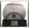 Autographs:Baseballs, Barry Bonds Single Signed Baseball, PSA Gem Mint 10. Home runrecord pursuant Barry Bonds has provided a perfect signature...