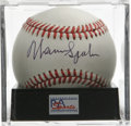 Autographs:Baseballs, Warren Spahn Single Signed Baseball, PSA NM-MT+ 8.5. The winningestlefty hurler in the games history offers a tremendous s...