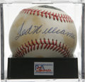 Autographs:Baseballs, Ted Williams Single Signed Baseball, PSA NM-MT 8. Absolutelyelegant sweet spot sig from HOF slugger Ted Williams shines th...
