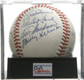 Autographs:Baseballs, Baseball Hall of Famers Multi-Signed Baseball, PSA NM-MT+ 8.5.Exceptional Hall of Fame orb contains eight signatures from...