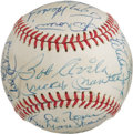 Autographs:Baseballs, 1980's New York Yankees Old Timers Signed Baseball with DiMaggio,Mantle, Maris. Show your pinstriped pride and bid aggress...