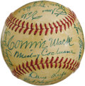 Autographs:Baseballs, 1950 Philadelphia Athletics Team Signed Baseball with Mack,Cochrane. The old man served the last of his sixty-six seasons ...