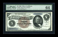 Large Size:Silver Certificates, Fr. 264 $5 1886 Silver Certificate PMG Choice Uncirculated 64.Minor aging of the upper corners appears to be what has held ...