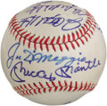 Autographs:Baseballs, 1987 New York Yankees Hall of Fame Day Multi-Signed Baseball.Blindingly bold autographs from pinstriped legends is the the...