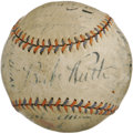 Autographs:Baseballs, 1932 New York Yankees Team Signed Baseball. The Babe earned the seventh and final World Championship of his career this sea...