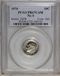 Proof Roosevelt Dimes: , 1970 10C No S PR67 Cameo PCGS. PCGS Population (15/27). NGC Census:(5/18). Numismedia Wsl. Price for NGC/PCGS coin in PR6...