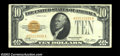 Small Size:Gold Certificates, Fr. 2400 $10 1928 Gold Certificate. About Uncirculated....