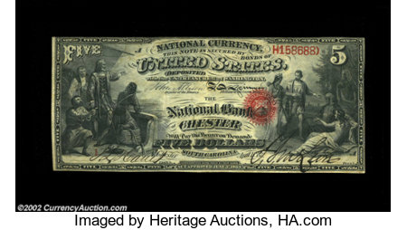 Chester, SC - $5 Original Fr. 399 The NB of Chester Ch....