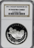 Modern Issues: , 1991-S $1 Mount Rushmore Silver Dollar PR70 Deep Cameo NGC. . NGCCensus: (0/0). PCGS Population (17/0). Mintage: 738,419. ...