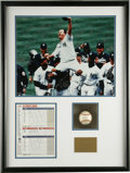 Autographs:Letters, David Wells Perfect Game Display Signed by the 1998 New YorkYankees. On May 17, 1998 David Wells became the 15th man to pi...
