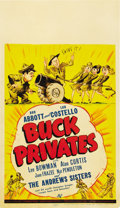 "Movie Posters:Comedy, Buck Privates (Universal, 1941). Midget Window Card (8"" X 14"")...."