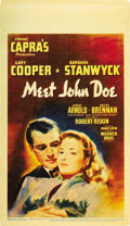 "Movie Posters:Drama, Meet John Doe (Warner Brothers, 1941). Midget Window Card (8"" X 14"")...."