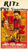 "Movie Posters:Romance, Suez (20th Century Fox, 1938). Midget Window Card (8"" X 14"")...."