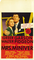 "Movie Posters:Academy Award Winner, Mrs. Miniver (MGM, 1942). Midget Window Card (8"" X 14"")...."