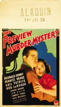"""Movie Posters:Mystery, The Preview Murder Mystery (Paramount, 1936). Midget Window Card(8"""" X 14"""")...."""