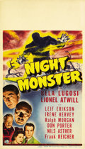 "Movie Posters:Horror, Night Monster (Universal, 1942). Midget Window Card (8"" X 14"")...."