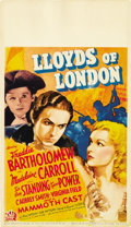 "Movie Posters:Drama, Lloyds of London (20th Century Fox, 1936). Midget Window Card (8"" X14"")...."