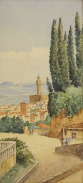 Fine Art - Painting, European:Antique  (Pre 1900), FRANS VERVLOET (Belgian, 1795-1872). Florence Street Scene.Watercolor and graphite on paper. 12-1/4 x 5-1/2 inches (31....