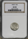 Barber Dimes: , 1903-S 10C AU58 NGC. . NGC Census: (5/27). PCGS Population (5/56). Mintage: 613,300. Numismedia Wsl. Price for NGC/PCGS coi...