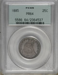 Proof Seated Quarters: , 1885 25C PR64 PCGS. . PCGS Population (83/50). NGC Census: (61/74).Mintage: 930. Numismedia Wsl. Price for NGC/PCGS coin i...