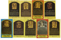 Autographs:Cut-outs, Signed Hall of Fame Plaques Lot of 9. Nine signed Hall of Fame postcards from Musial, Lyons, Lemon, Kelly, Johnson, Waner, ...