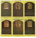Autographs:Cut-outs, Signed Gold Hall of Fame Plaques Lot of 6. Six Gold Hall of Fame[plaques signed by the Hall of Famers. Plaques include Lou...
