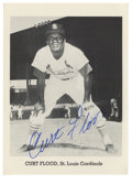 """Autographs:Post Cards, Curt Flood Signed Photograph. Team-issued 5x7"""" photograph featuresthe man who challenged baseball's reserve clause, effecti..."""