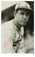 """Autographs:Post Cards, Daffy Dean Signed Postcard. Paul """"Daffy"""" Dean, brother of Dizzy Dean, pitched a no-hitter in the major leagues and helped t..."""