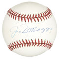 Autographs:Baseballs, Joe DiMaggio Single Signed Baseball. The OAL (Budig) baseball holdsthe highly desirable autograph of Joe DiMaggio nicely o...