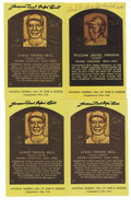 Autographs:Post Cards, Cool Papa Bell and Judy Johnson Signed Gold Hall of Fame Plaques Lot of 4. Two of the foremost stars of Negro League Baseba...