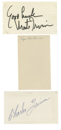 Autographs:Index Cards, Vintage Baseball Stars Signed Index Cards Lot of 3. Three of the game's stars from the first half of the 20th century offer...