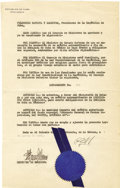 Autographs:Non-American, General Fulgencio Batista, President of Cuba, Document Signed,...