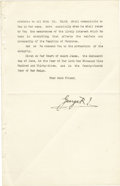 "Autographs:Non-American, George V Letter Signed ""George R"" as King of Great Britain...."