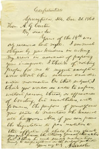 "Abraham Lincoln (1809-1865) President, important Autograph Letter Signed ""A. Lincoln"" as President-elect, one..."