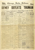 """Autographs:U.S. Presidents, Chicago Daily Tribune """"DEWEY DEFEATS TRUMAN"""" Newspaper and Truman Signed Photo.... (Total: 2 Items)"""