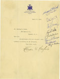 Autographs:Statesmen, Supreme Court: Letter Signed by 10 Justices....